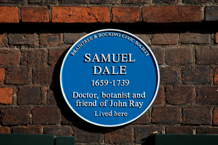 blue plaque: Samuel Dale blue plaque, Braintree, Essex