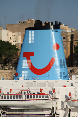 ms: Cruise ship of MS Thomson Celebration funnel, moored in Grand Harbour, Valletta, Malta