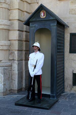 duty: Guard on duty outside the Grandmasters Palace, Valletta, Malta