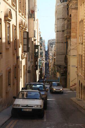 steep: Narrow steep streets of Valletta, Malta