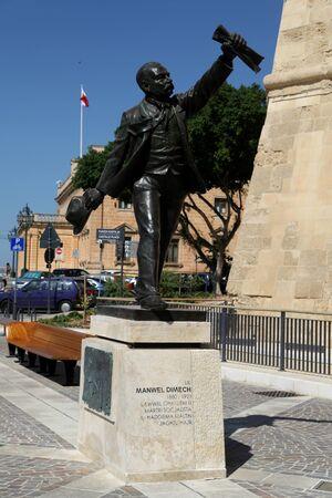 castille: Statue of Manwel Dimech, Castille Square, Valletta, Malta