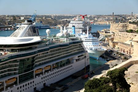 moored: Three cruise ships moored in Valletta, Grand Harbour Malta