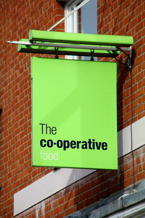essex: Co-op food shop sign, Chelmsford, Essex
