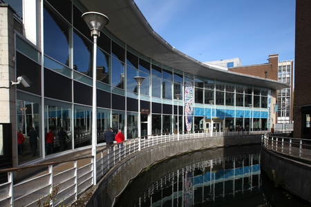 occupying: Restaurants occupying modern architecture building on bank of river in town centre, Chelmsford, Essex