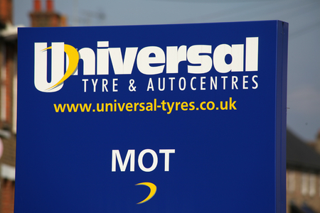 mot: Universal tyre and exhaust sign, Chelmsford, Essex Editorial