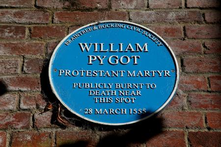 william: William Pygot blue plaque, Braintree, Essex Editorial