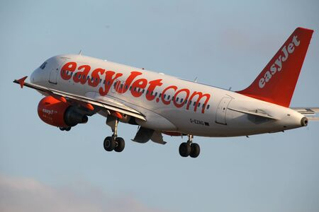 Easyjet, Airbus A319, G-EZAG, departs London Stansted Airport, Essex Editorial