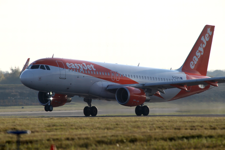 essex: Easyjet, Airbus A320, G-EZPE departs London Stansted Airport, Essex Editorial