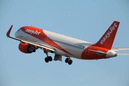 airbus: Easyjet, Airbus A320, G-EZPE departs London Stansted Airport, Essex Editorial