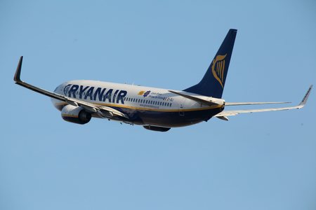 Ryanair, Boeing 737, EI-DLI, departs London Stansted Airport, Essex Editorial