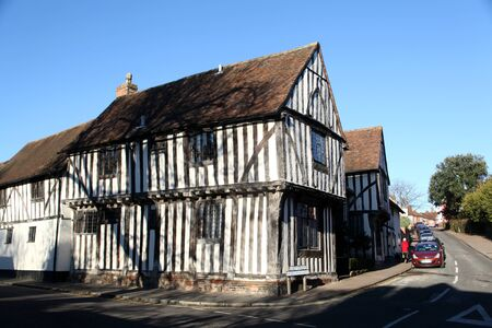 timbered: Half timbered medieval cottage in Lavenham, Suffolk