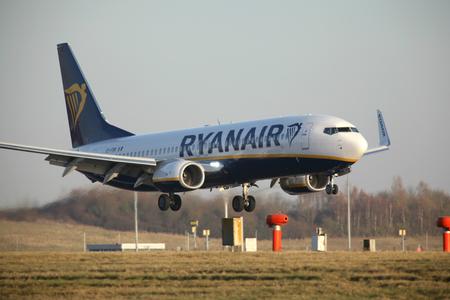 London Stansted Airport - 30 Nov 2016 - Ryanair Boeing 737 EI-FRK  landing Editorial