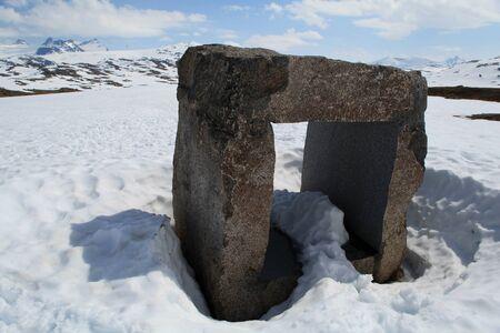 jotunheimen national park: Stone sculpture by Knut Wold in Jotunheimen National Park, next to Sognefjellet Tourist Road, Norway