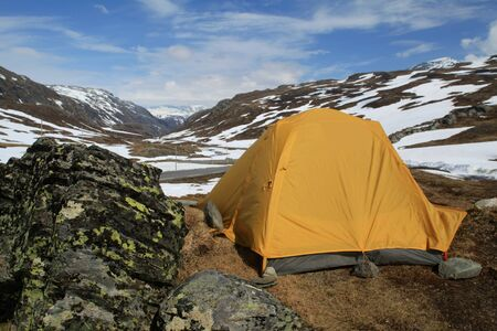 Tent camped in Jotunheimen National Park, next to the Sognefjellet Tourist Road, Norway