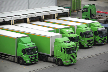 Delivery vehicles at Bring distribution centre, Bergen, Norway