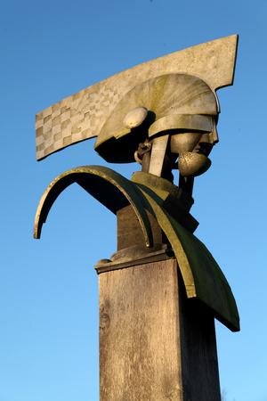 army face: Bright Future sculpture, Great Notley, Braintree, Essex Editorial