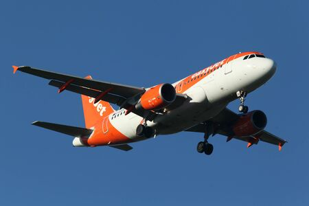 London, Stansted Airport, 20 Jan 2017 - Easyjet, Airbus A319, G-EZGB, on final approach Editorial