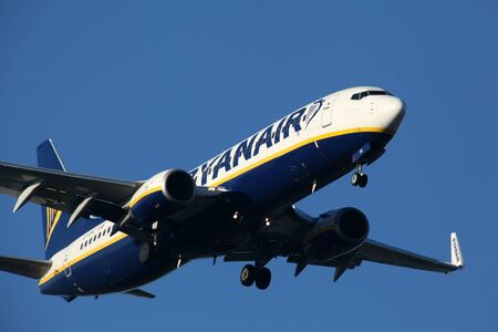 holiday budget: London, Stansted Airport, 20 Jan 2017 - Ryanair, Boeing 737, EI-EKC, on final approach Editorial