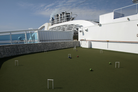 Croquet green area on cruise ship MS Emerald Princess Editorial