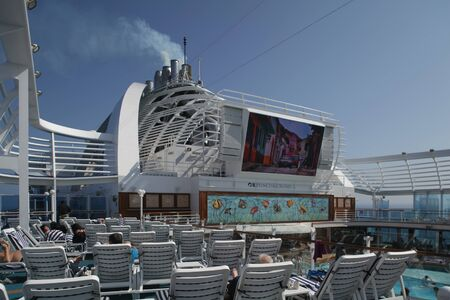 Top deck with cinema screen on cruise ship MS Emerald Princess Editorial