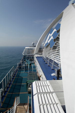 View of deck to the side of funnel of cruise ship MS Emerald Princess