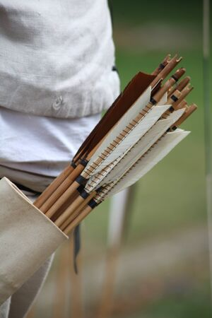 Number of archers arrows in quiver Stock Photo