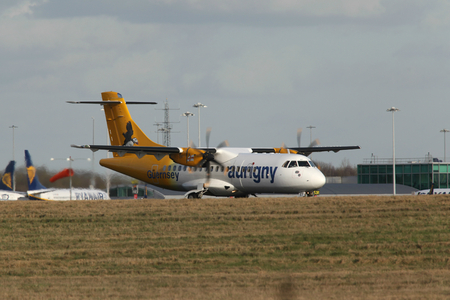 guernsey: London, Stansted Airport, 2 Mar 2017 - Aurigny Air Services, ATR 42, G-HUET, departing