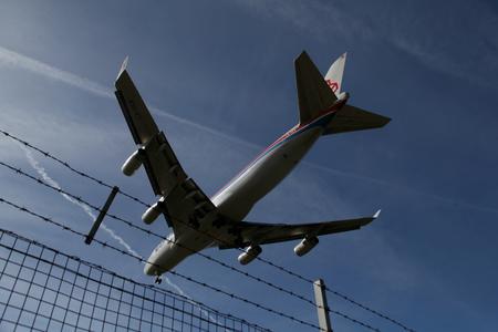 boeing 747: London Stansted Airport, 13 Mar 2017 - Cargolux, Boeing 747, LX-VCV, landing
