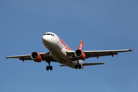 London Stansted Airport, 13 Mar 2017 - Easyjet, Airbus A319, G-EZSM, landing