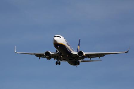 London Stansted Airport, 13 Mar 2017 - Ryanair, Boeing 737, EI-ESS, landing Editorial