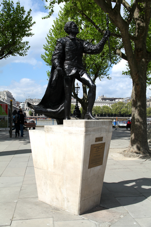 London, England, 22 April 2017 - Statue of Sir Laurence Olivier outside National Theatre, Southbank of River Thames
