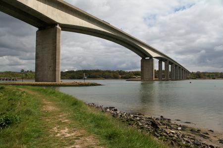 riverbank: Orwell Bridge over the River Orwell, Ipsich, Suffolk