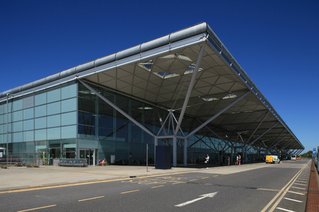London Stansted Airport, Essex - 10 June 2017, exterior of main terminal building