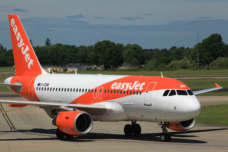 London Stansted Airport, Essex - 10 June 2017, Easyjet, Airbus A319, G-EZBW Editorial