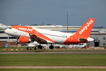 London Stansted Airport, Essex - 10 June 2017, Easyjet, Airbus A319, G-EZFT take off