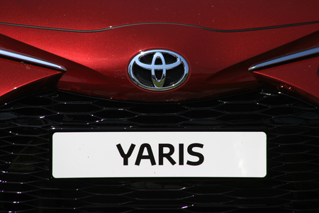 Chelmsford, Essex - 26 June 2017, Toyota Yaris sign attached to front of car