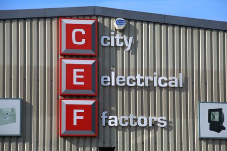 Chelmsford, Essex - 26 June 2017, City Electrical Factors sign in Dukes Park industrial area