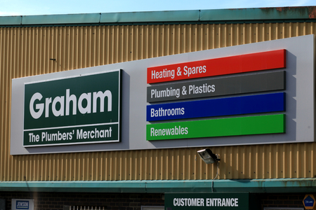 Chelmsford, Essex - 26 June 2017, Graham plumbers merchant sign in Dukes Park industrial area