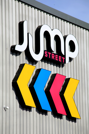 Chelmsford, Essex - 26 June 2017, Jump Street trampoline centre sign in Dukes Park industrial area