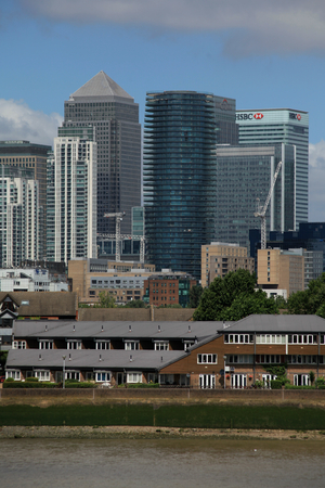 Docklands, London - 12 July 2017, Canary Wharf buildings viewed from Greenwich across the River  Thames