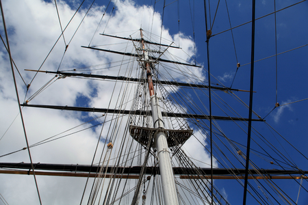 Greenwich, London - 12 July 2017, Rigging and masts of ship, Cutty Sark ship museum next to the River Thames