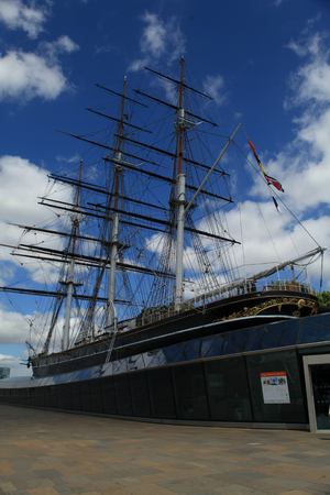 Greenwich, London - 12 July 2017, Cutty Sark ship museum next to the River Thames