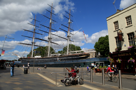 Greenwich, London - 12 July 2017, Cutty Sark ship museum and pub, next to the River Thames