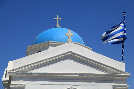 Blue domed, whitewashed chapel in Mykonos Town, Mykonos, Greece