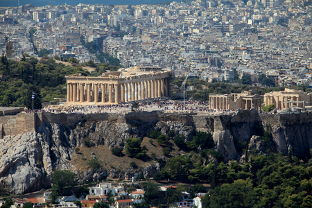 Acropolis of Athens and the surrounding modern city from Mount Lycabettus,  Athens, Greece