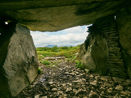 A Tomb With A View - Capel Garmon Wales UK a long burial chamber from the Neolithic or late stone age.  Estimated to be 5,500 years old the dead were buried according to the spiritual practices of the Beaker people.