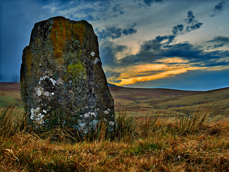 Standing Stone at Waun Leuci above the Tawe Valley
