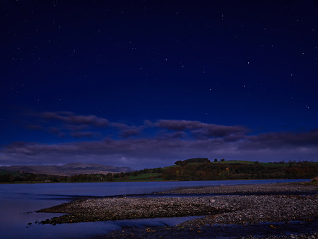 The Big Dipper or Plough by Moonlight. A clear sky and starry night over the Welsh countryside with the moon creating a brightly lit landscape illuminating distant hills, as well as nearby meadows, trees and lake shoreline. Stock Photo