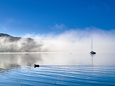Duck and Boat on Misty Lake. Sunshine burning off the mist on sailing lake to reveal a clear blue sky. Duck is swimming past and a sailing dinghy emerges from the mist in a scene of peace and tranquillity. Imagens