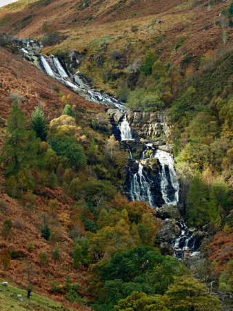 Rhiwargor Falls (Pistyll Rhyd-y-meinciau). Situated in a nature reserve the waterfalls are a series of cascades on the river Eiddew which runs into the north western end of Lake Vynwy mid Wales. Imagens